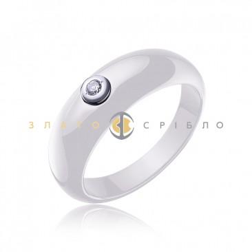 Серебряное кольцо «Джина» с белой керамикой