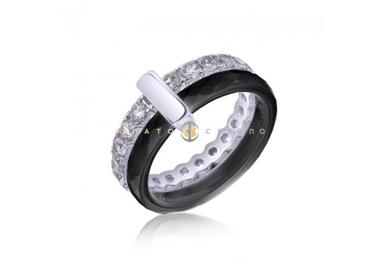 Серебряное кольцо «Cosmopolis» с черной керамикой