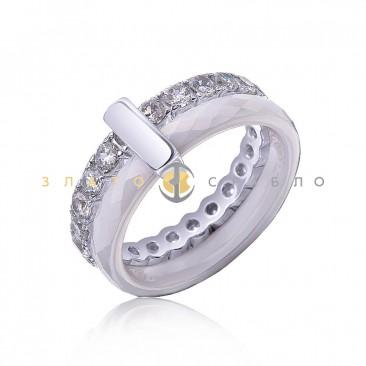 Серебряное кольцо «Cosmopolis» с белой керамикой