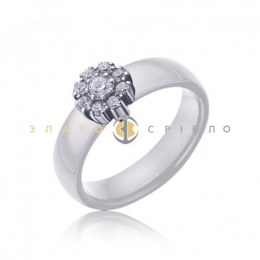 Серебряное кольцо «Флоренция» с белой керамикой