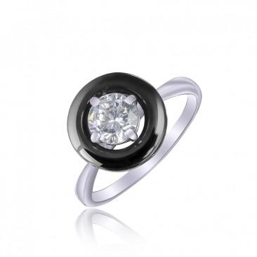 Серебряное кольцо «Ночные чары» с черной керамикой