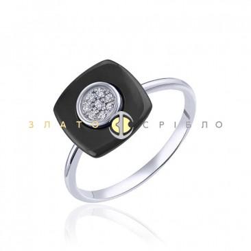 Серебряное кольцо «Сапфир» с черной керамикой
