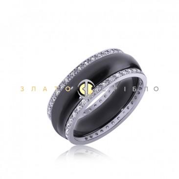 Серебряное кольцо «Темная ночь» с черной керамикой