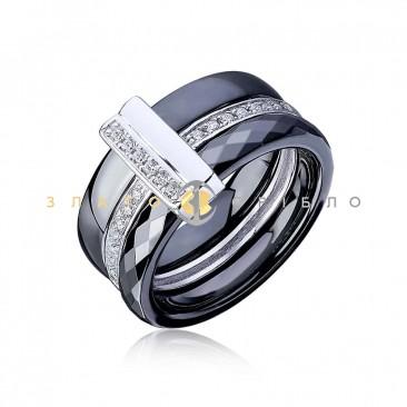 Серебряное кольцо «Камилла» с черной керамикой