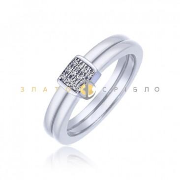 Серебряное кольцо «Маргарет» с белой керамикой