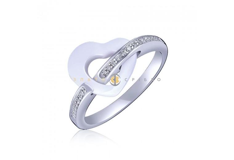 Серебряное кольцо «Мэрилин» с белой керамикой