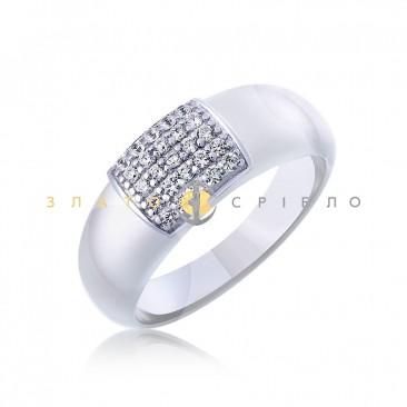 Серебряное кольцо «Нинэль» с белой керамикой