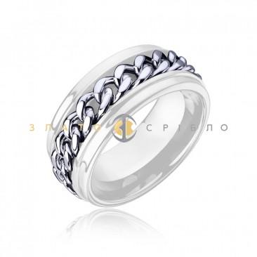 Серебряное кольцо «City Style» с белой керамикой