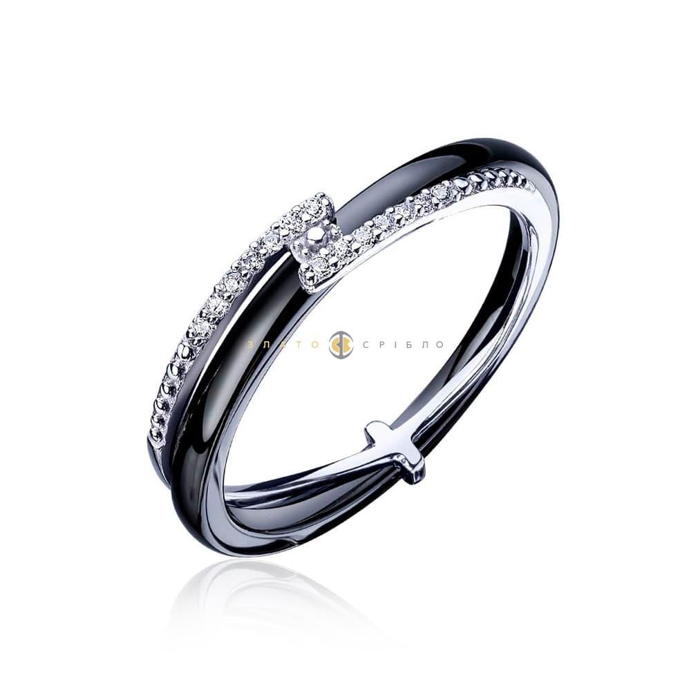 Срібну каблучка «Зигзаг удачі» з чорною керамікою в интернет ... d9ba08ac17353