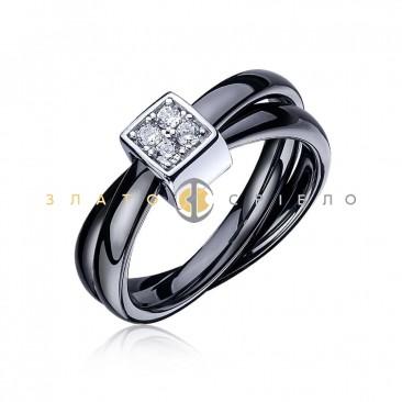 Серебряное кольцо «Черный шоколад» с черной керамикой