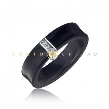 Серебряное кольцо «Lady in Black» с черной керамикой