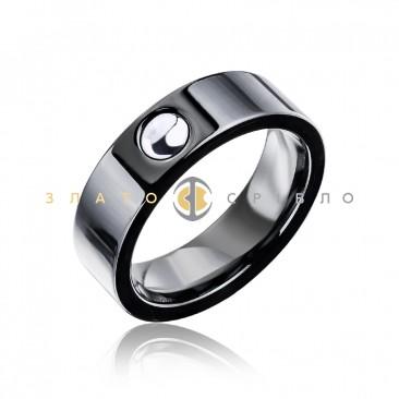 Серебряное кольцо «Фьюжн» с черной керамикой