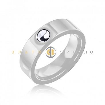Серебряное кольцо «Фьюжн» с белой керамикой