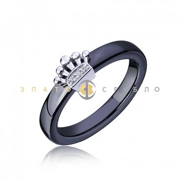 Серебряное кольцо «Мадлен» с черной керамикой