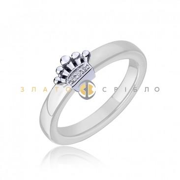 Серебряное кольцо «Мадлен» с белой керамикой
