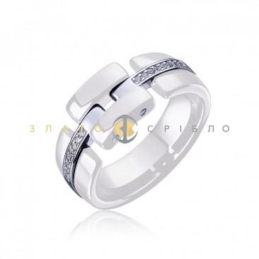 Серебряное кольцо «Freedom» с белой керамикой«