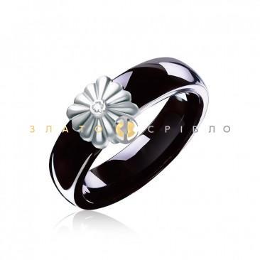 Керамическое кольцо «Винтаж Black» с бриллиантом и накладкой из белого золота