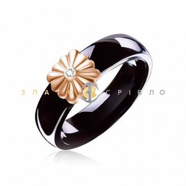 Керамическое кольцо «Винтаж Black»  с бриллиантом и накладкой из красного золота