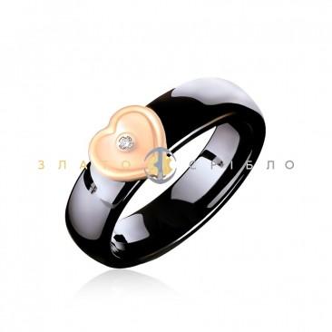 Керамическое кольцо «Шанель Black» с бриллиантом и накладкой из красного золота