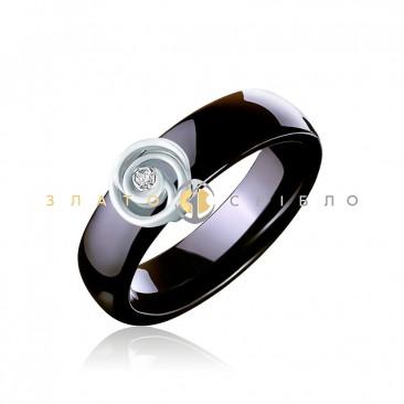 Керамическое кольцо «Мейли Black» с бриллиантом и накладкой из белого золота
