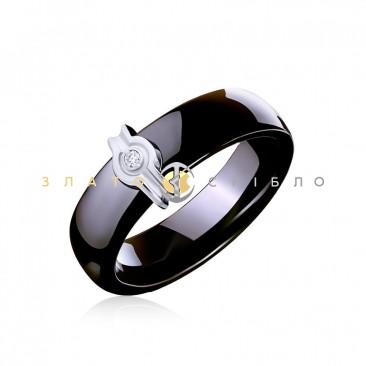 Керамическое кольцо «Наоми Black» с бриллиантом и накладкой из белого золота
