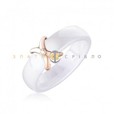 Керамическое кольцо «Мадонна White» с бриллиантом и накладкой из красного золота