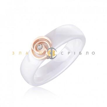 Керамическое кольцо «Мейли White» с бриллиантом и накладкой из красного золота