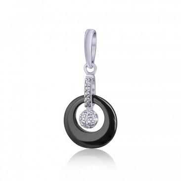 Серебряный подвес «Нуар» с черной керамикой