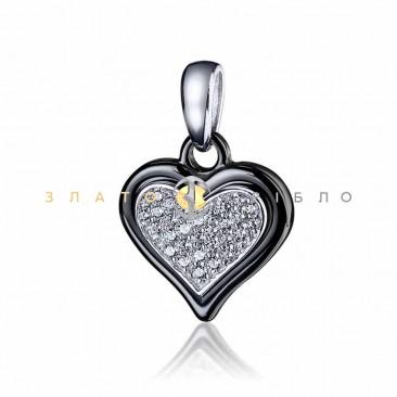 Серебряный подвес «Офелия» с черной керамикой