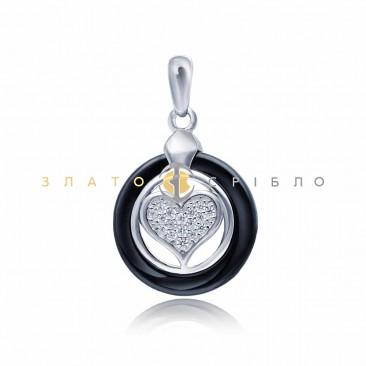Серебряный подвес «Тайна сердца» с черной керамикой