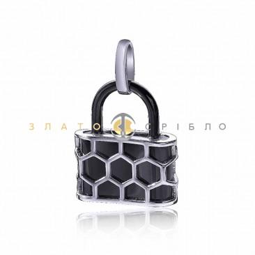 Серебряный подвес «Замок» с черной керамикой