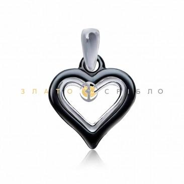 Серебряный подвес «Пылающее сердце» с черной керамикой
