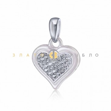 Серебряный подвес «Любящее сердце» с белой керамикой