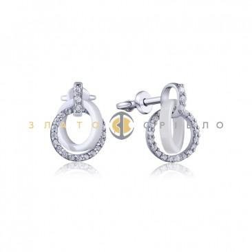 Серебряные пуссеты «Белая ночь» с белой керамикой
