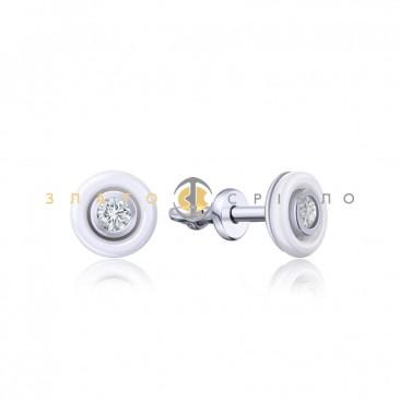 Серебряные пуссеты «Санторини» с белой керамикой