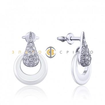 Серебряные пусcеты «Деми» с белой керамикой