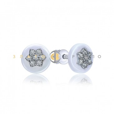 Серебряные пуссеты «Пэт» с белой керамикой