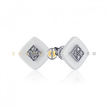 Серебряные пуссеты «Богема» с белой керамикой