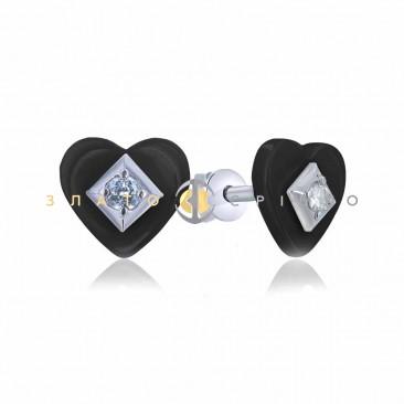 Серебряные пуссеты «Романс» с черной керамикой