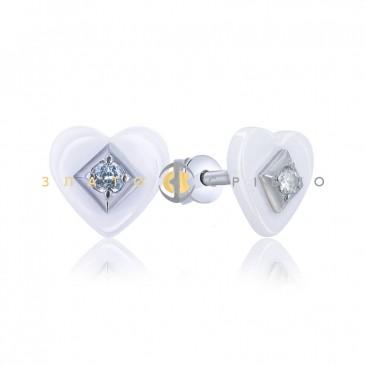 Серебряные пуссеты «Романс» с белой керамикой