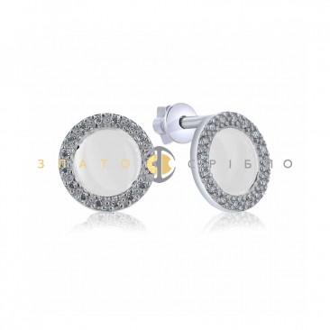 Серебряные пуссеты «Барбара» с белой керамикой