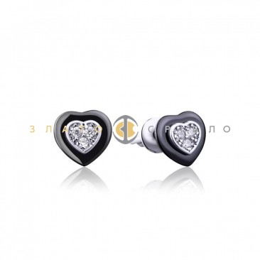 Серебряные серьги «Romantic» с черной керамикой