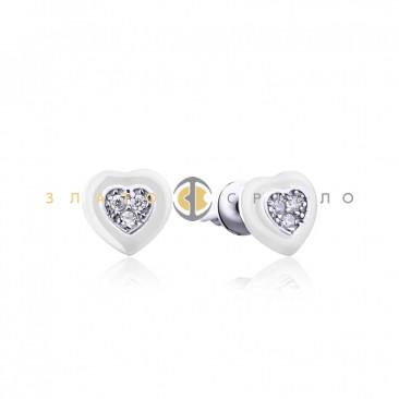 Серебряные пусеты «Romantic» с белой керамикой