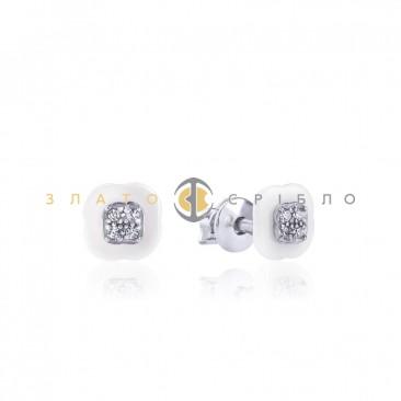 Серебряные пуссеты «Валанс» с белой керамикой