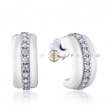 Серебряные пуссеты «Моя прекрасная леди» с белой керамикой