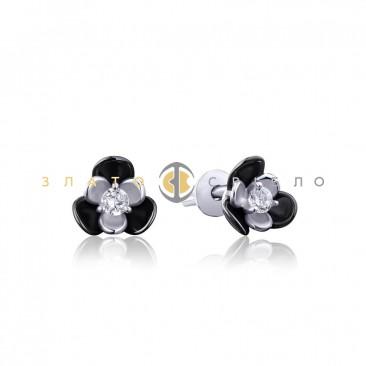 Серебряные пуссеты «Дикие цветы» с черной керамикой