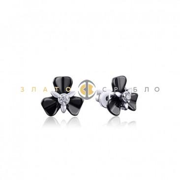 Серебряные пуссеты «Камея» с черной керамикой