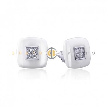 Серебряные пуссеты «Ибица» с белой керамикой