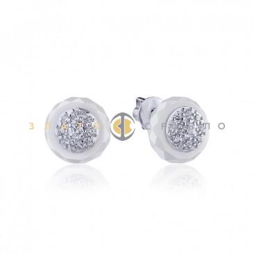 Серебряные пуссеты «Эбби» с белой керамикой