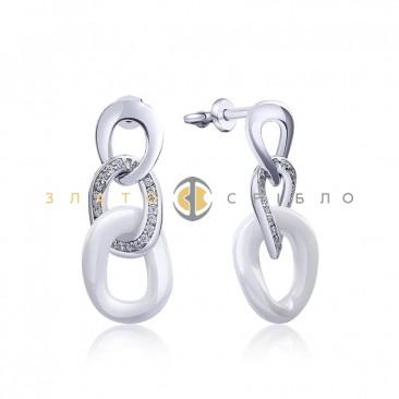 Серебряные пуссеты «Сати» с белой керамикой